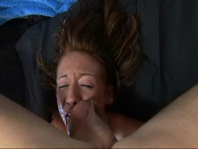Sierra Sinn gets her face fucked hard by a huge white pecker