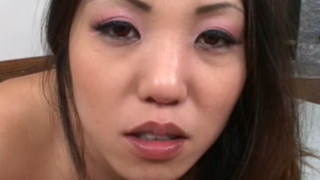 Sinfully Asian bitch with large knockers suck and jerk off a huge dick in POV style