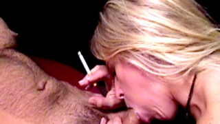 Sinfully blonde cutie Dia Zerva smoking and sucking a massive dick