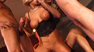 Sinfully Czech blonde chick with giant tits slurps and humps three huge cocks