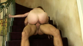 Sinfully Mature Hottie With Big Booty Ginger Riding A Massive Young Phallus On The Stairs