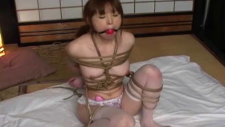Slender and sexy Japanese girl rope bound
