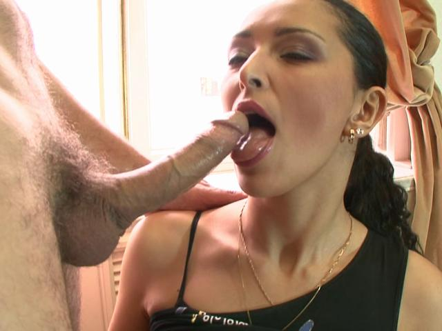 Slender european goddess gives blowjob and swallows hot seed
