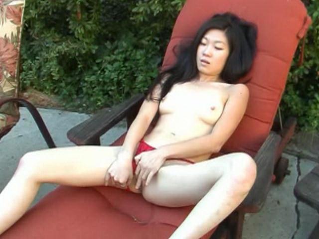 Slim amateur asian girl Leandra Lee stripping outdoors