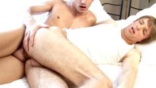 Slim blonde young gay Edgar gets ass fucked from behind by Tommy's giant cock