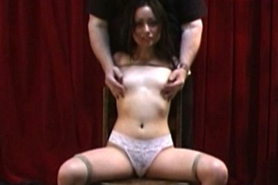 Slim Rebecca in breast bondage action
