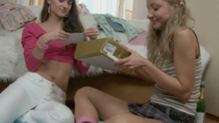Slim sexy teen lesbians Bonny And Alice drinking champagne and getting naughty