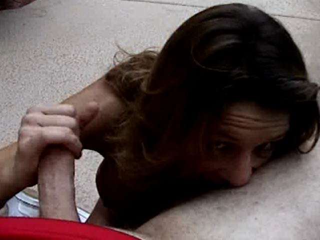 Slutty amateur bitch slurping balls and jerking off a hard prick in POV style outdoors