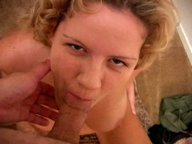 Slutty blond ex-girlfriend bitch with big tits Claire James slurping a penis on the knees Unlocked Profiles XXX Porn Tube Video Image