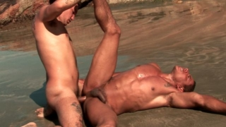 Slutty Bronzed Gays Alber Charles And Anthony Gimenez Having Wild Anal Sex On The Beach