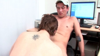 Slutty brunette amateur gay Ariel gives blowjob to horny Ivan and strokes his dick