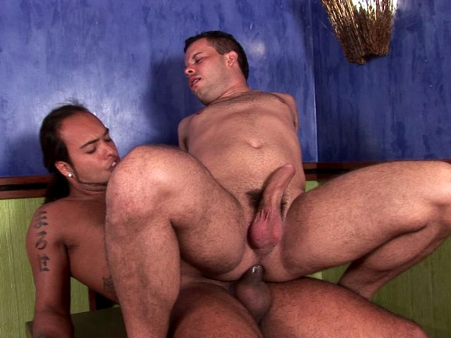 Slutty brunette gay Matheus riding anally Sandra's monster phallys