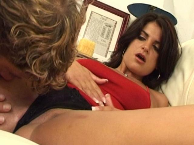 Slutty brunette wife getting slit licked by a younger stud on the couch Erotic Wifes XXX Porn Tube Video Image