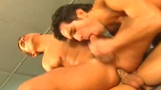 Slutty gay gets cock jerked and ass fucked deep by two horny studs in the garage