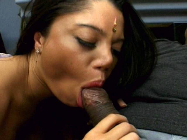 Slutty Indian chick Chadra sucking a large black pecker