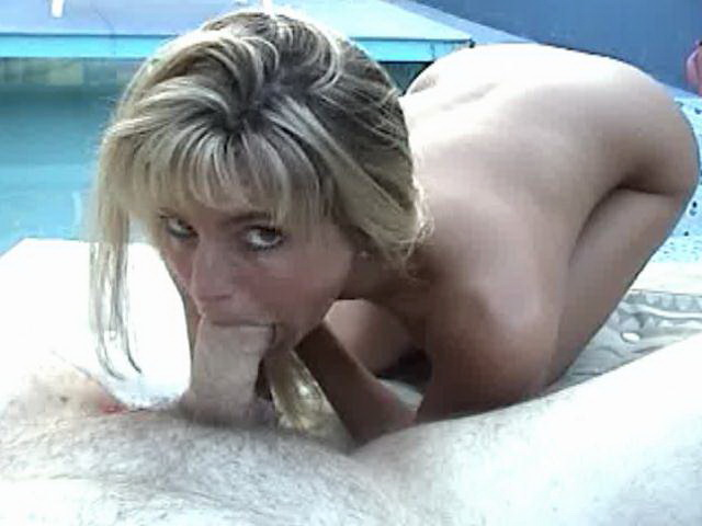 Small boobed blonde amateur bitch Ashly Shy sucking dick and slurping sperm in backyard