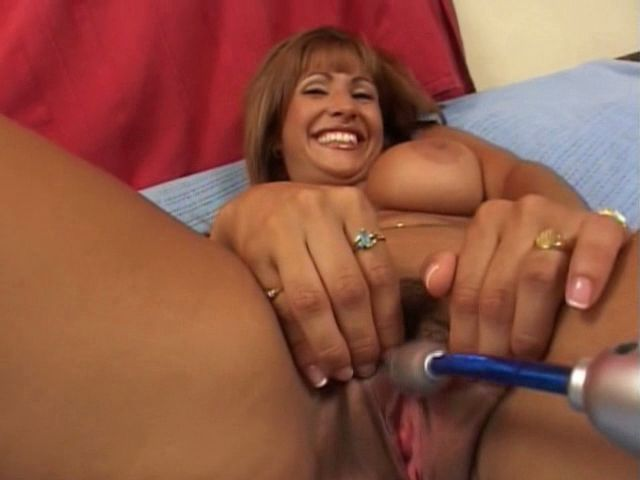 Smiling busty milf Estrella Spangled getting pink twat teased with a toy