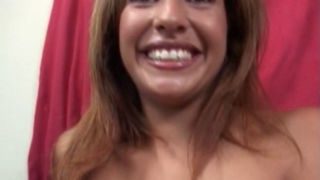 Smiling milf Estrella Spangled showing her sexy tits and giving felatio