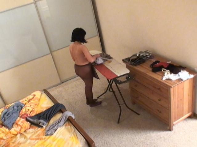 Spy cam filming hot brunette babe Miki wearing only nylons Erotic Voyeur Club XXX Porn Tube Video Image
