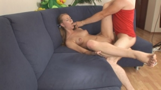 Stiff rod slamming young yummy butt cheeks.