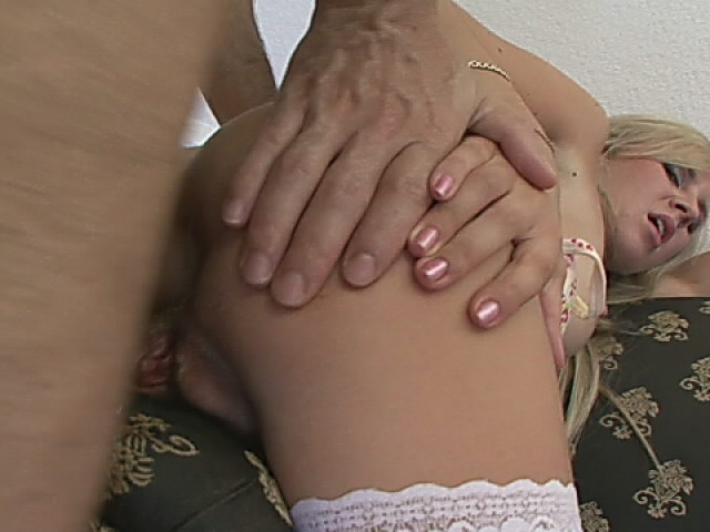 Stimulating blonde siren in fishnets getting anally fucked doggy