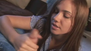Stimulating schoolgirl Dakoda wanking an immense penis on her knees