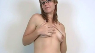 Stockinged Amateur Teen Honey In Glasses Heidi Showing Her Perky Tits And Dancing Seductively For You