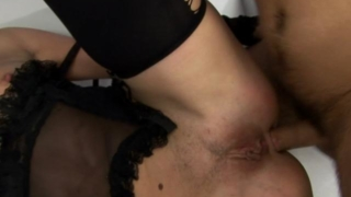 Stockinged bitch getting tight butthole fucked while giving blowjob