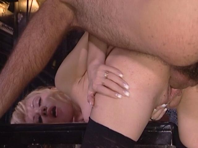 Stockinged blonde tramp getting pink snatch humped doggy style