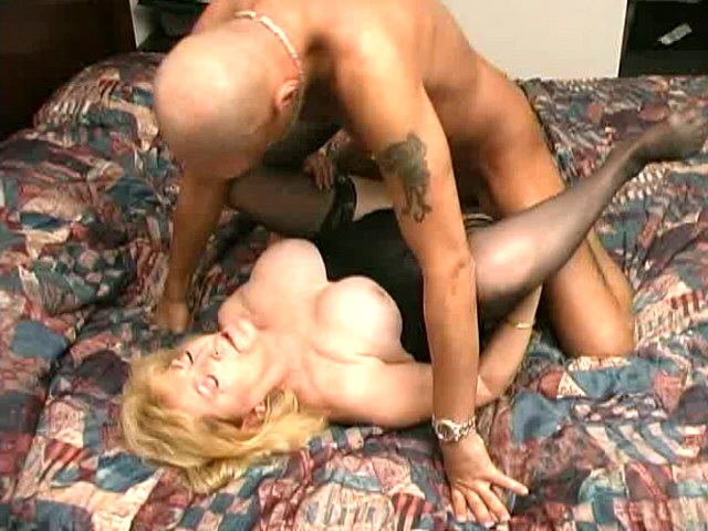 Stockinged granny Kitty Fox gets hairy muff hammered by a younger stud