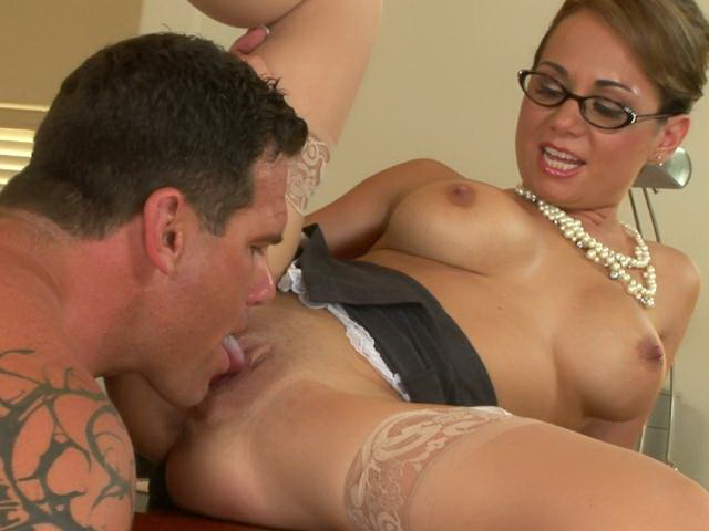 Stockinged mature honey with large tits Holly West gets pussy licked upskirt by a tattooed stud
