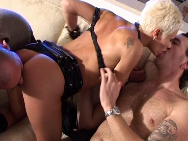Stunning blonde whore getting fucked by two horny studs