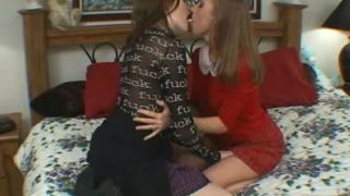 Sultry teen lesbians Pason And Keiko kissing and touching their divine jugs