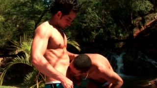 Superb amateur gays Andre and Felix licking hard their hot bodies in the backyard