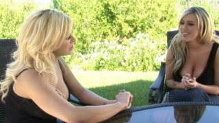 Superb Blonde Mature Babe Shyla Stylez Talking With A Busty Lesbian Outdoors