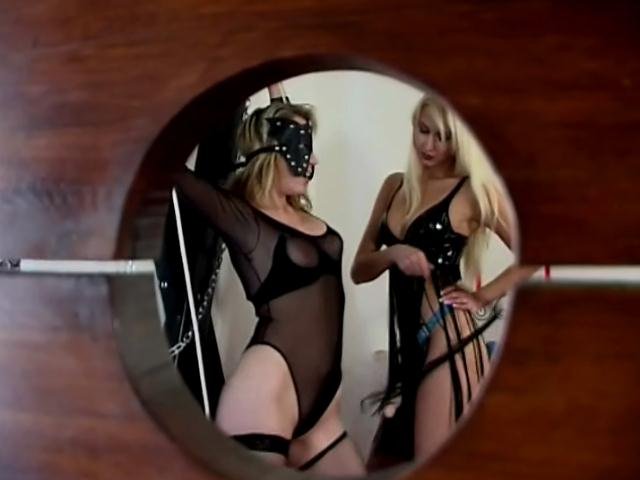 Superb blonde mistress Junkova playing with her tied up slave`s twat