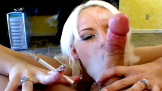 Superb Blonde Smoker Tramp Angel Couture Sucking A Massive Penis On Her Knees