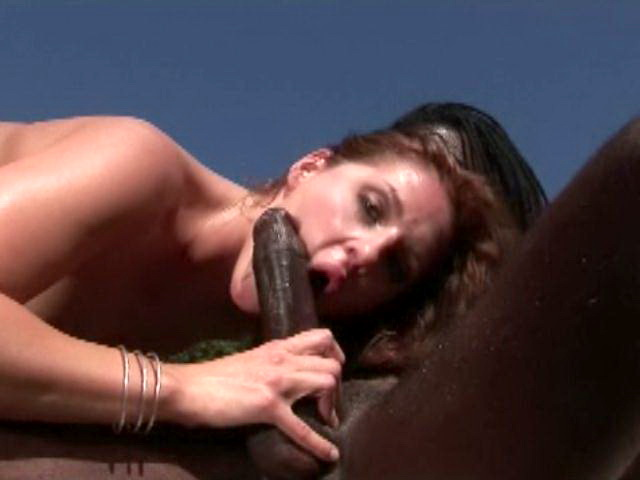 Superb brunette amateur slut Lauren Phoenix slurping and riding a monster black penis outdoors