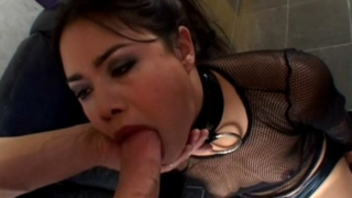 Superb brunette slave hottie Dana Vespoli gives deepthroat on her knees