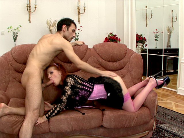 Superb redheaded Russian bitch Tiffany stripping skirt and riding anally a big dick