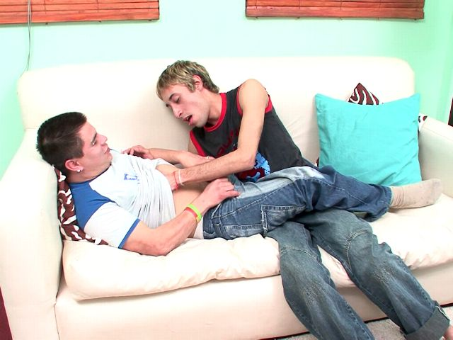 Sweet amateur gays Ariel And Juanjo touching their hot bodies with lust on the couch