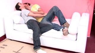 Sweet amateur gays Julian And Moxi kissing their bodies on the couch