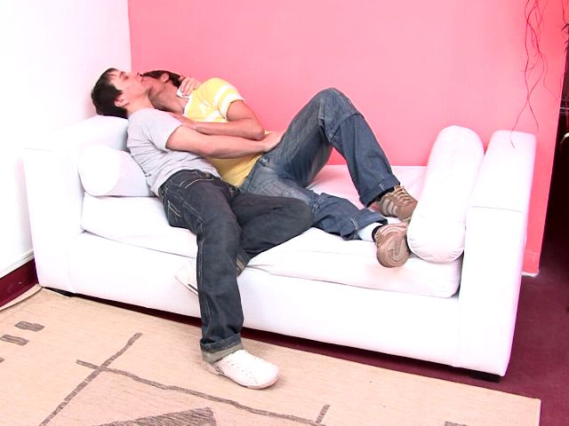 Sweet amateur gays Julian And Moxi kissing their bodies on the couch Gay Amateurs Club XXX Porn Tube Video Image