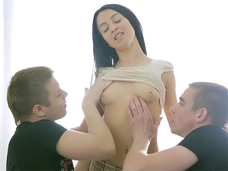 Sweet babe fucked by 2 guys