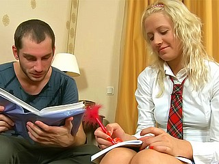 Sweet blonde teen banged