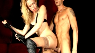 Sweet blonde tranny in sexy thong Rubia getting hard dick sucked by a bald stud