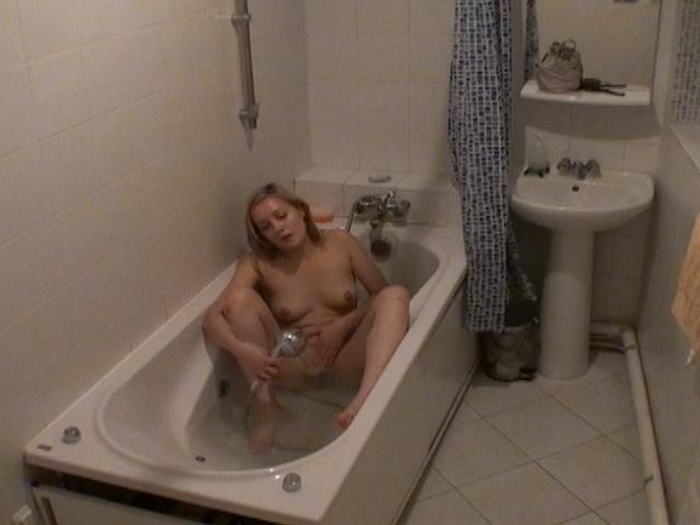 Sweet blonde voyeur babe Marina wash and masturbate pussy in bath tub