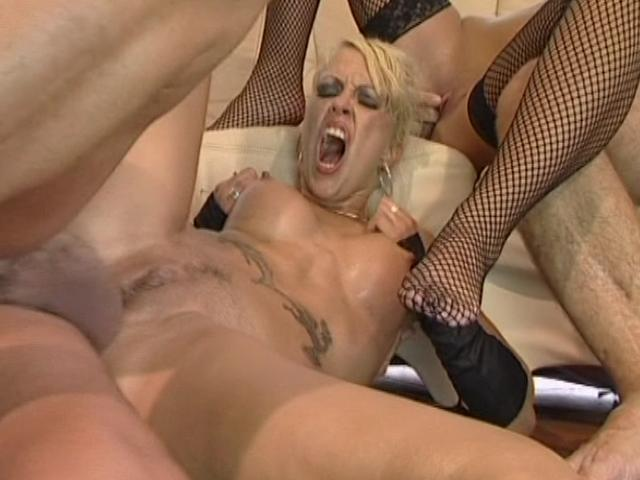 Sweet blonde whore gets pussy hammered in a threesome