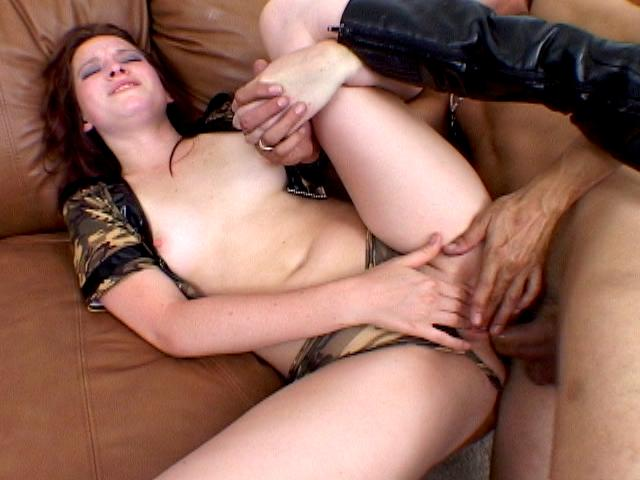 Sweet brunette army hooker Ashley Haze masturbating slit and getting anally banged