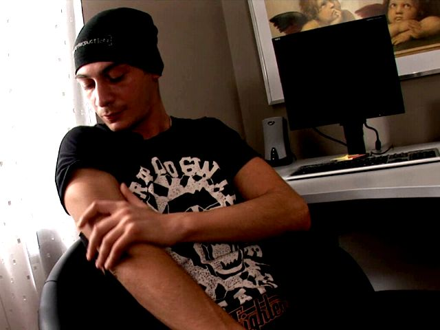 Sweet brunette gay in hat Timo Hardy exposing his hard schlong on the camera Gay Sex Exposed XXX Porn Tube Video Image